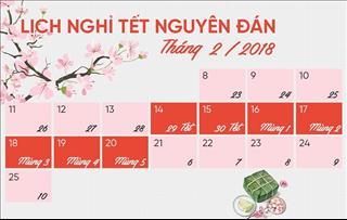 Lịch nghỉ Tết Nguyên Đán 2018 chính thức: Chốt phương án 7 ngày
