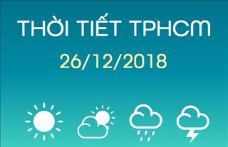 Dự báo thời tiết TPHCM 26/12: Mưa rào và dông rải rác trong cả ngày