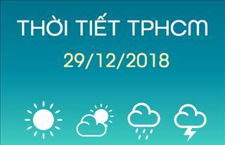 Dự báo thời tiết TPHCM 29/12: Ban ngày có mưa rào và dông rải rác, đêm trời ngớt mưa
