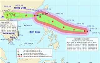 Tin bão khẩn cấp: Bão số 5 giật cấp 10 cùng siêu bão Mangkhut giật cấp 16 tràn vào biển Đông