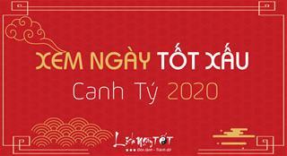 XEM NGÀY TỐT XẤU NĂM 2020 theo từng tháng âm lịch