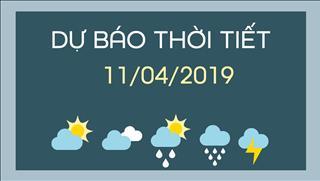 Dự báo thời tiết 11/4/2019: Mưa dông trên diện rộng