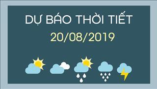 Dự báo thời tiết 20/8: Bắc Bộ và Bắc Trung Bộ có mưa rào và dông rải rác, cục bộ có mưa vừa, mưa to