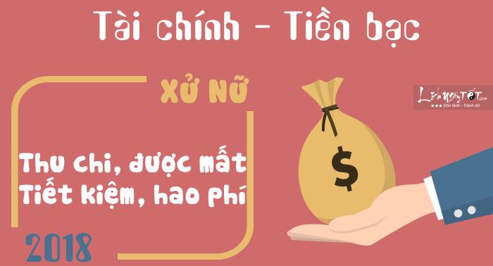 Tu vi cung Xu Nu 2018 tai chinh