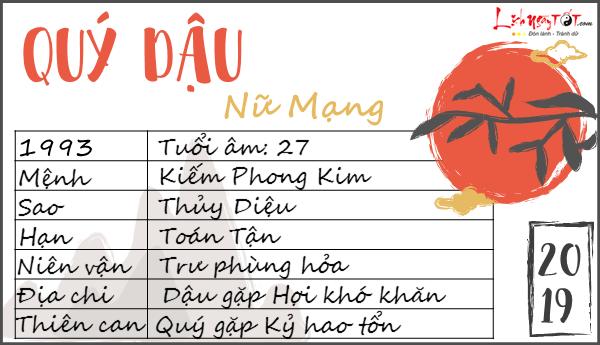 Tu vi 2019 tuoi Quy Dau nu mang