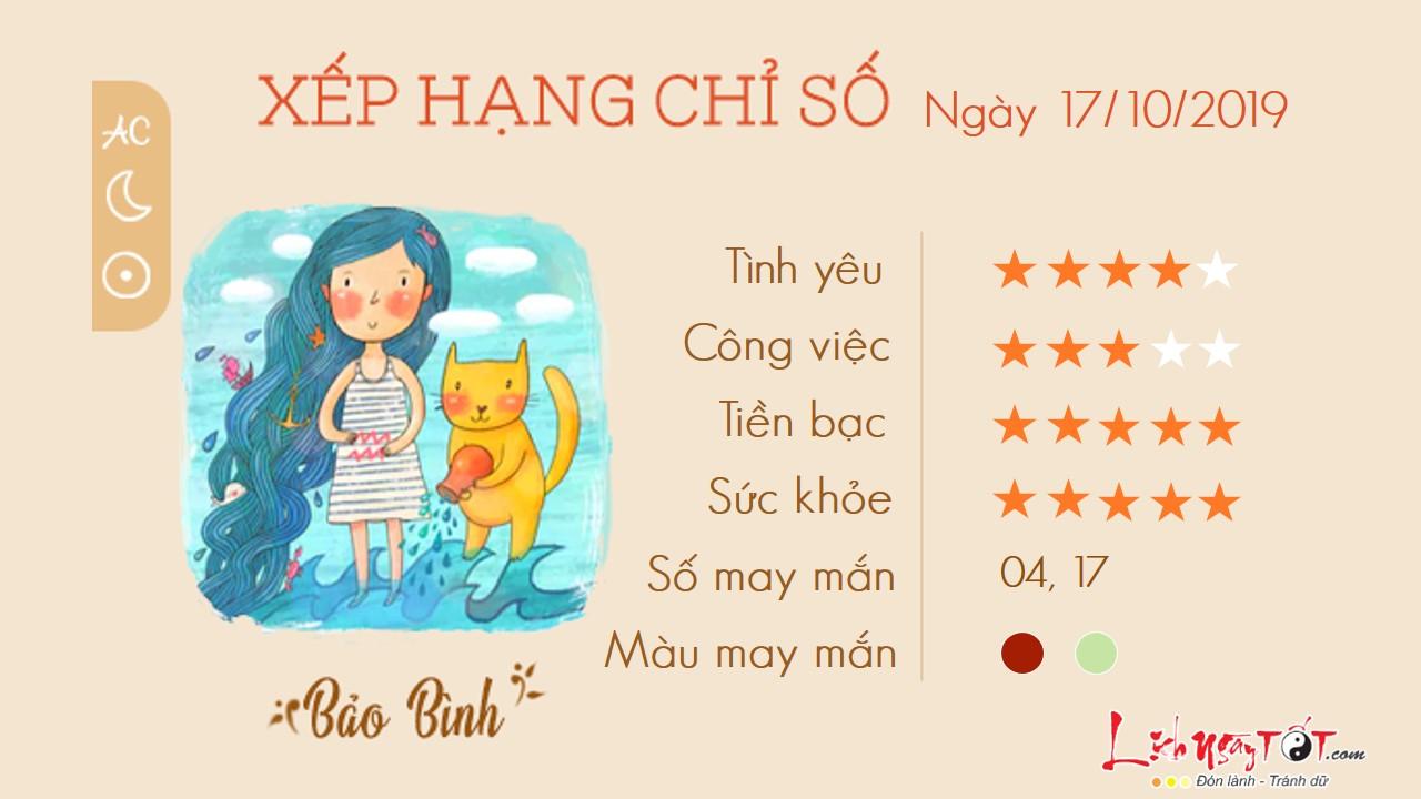 Tu vi thu 5 ngay 17102019 cua 12 cung hoang dao Bao Binh