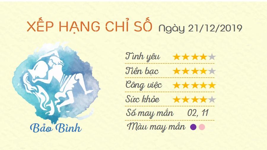 Tu vi thu 7 ngay 21122019 cua 12 cung hoang dao Bao Binh