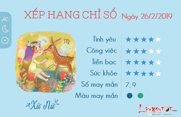 Tu vi 12 cung hoang dao - tu vi ngay 2622019 - Xu Nu
