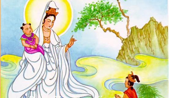 Treo tranh Quan Am Tong Tu cho phuc khi day nha