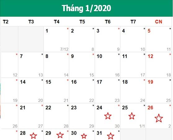 lich nghi tet am 2020
