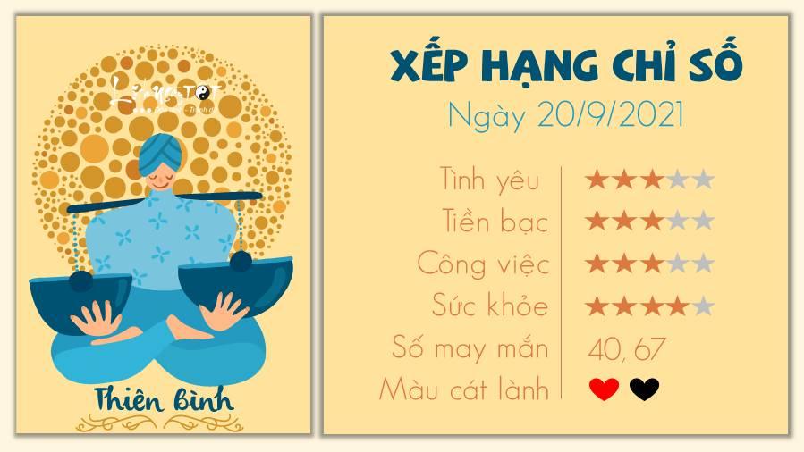 Tu vi thu 2 ngay 20/9/2021 cua 12 cung hoang dao - Thien Binh