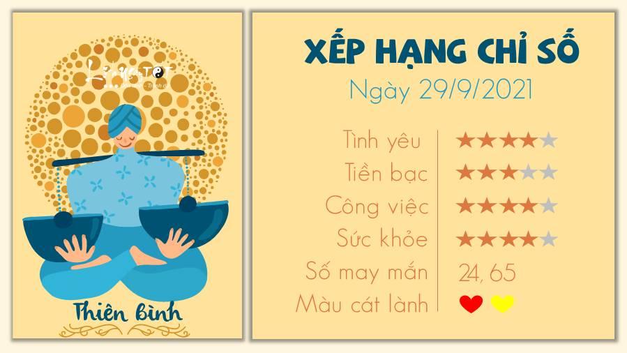 Tu vi ngay 29/09/2021 cua 12 cung hoang dao - Thien Binh