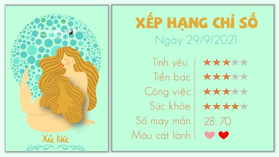 Tu vi ngay 29/09/2021 cua 12 cung hoang dao - Xu Nu