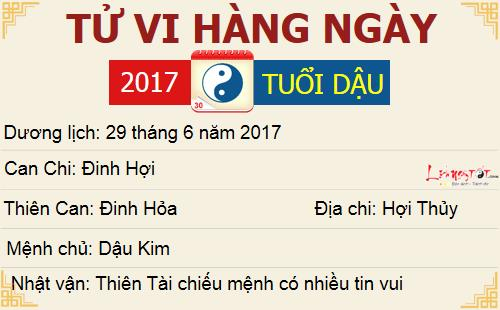 Tu vi hang ngay - Tu vi thu Nam ngay 29062017 - Tuoi Dau