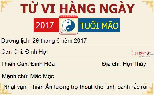 Tu vi hang ngay - Tu vi thu Nam ngay 29062017 - Tuoi Mao