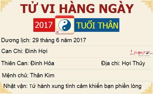 Tu vi hang ngay - Tu vi thu Nam ngay 29062017 - Tuoi Than