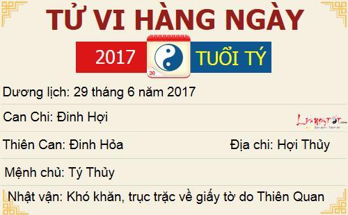 Tu vi hang ngay - Tu vi thu Nam ngay 29062017 - Tuoi Ty
