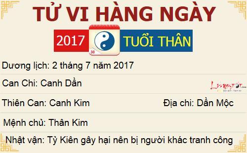 tu vi hang ngay - tu vi ngay 02072017 - tuoi Than