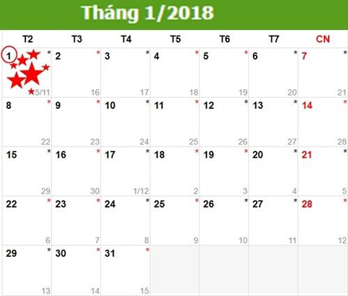 Lich nghi tet Duong lich 2018 nhu the nao
