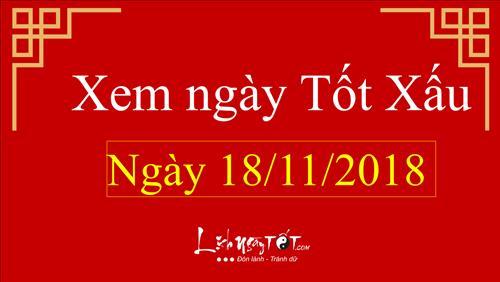 Xem ngày tốt xấu hôm nay Chủ nhật ngày 18/11/2018 - Lịch âm 12/10/2018