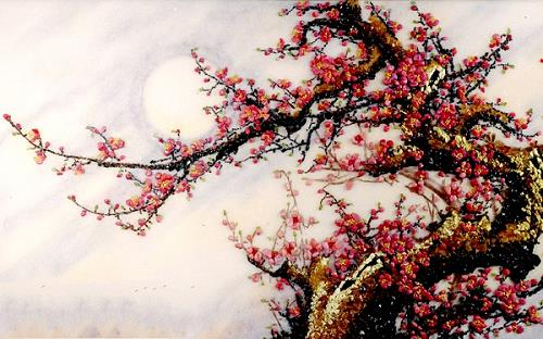tranh phong thuy hoa dao mang tai loc ve nha
