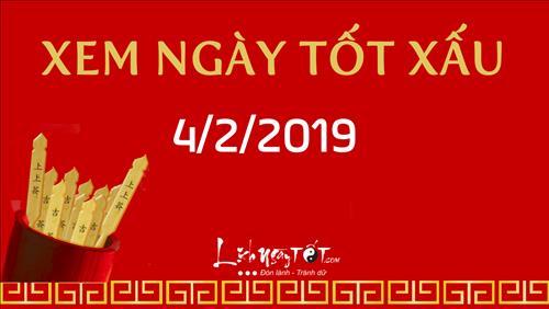 Xem ngày tốt xấu hôm nay Thứ 2 ngày 4/2/2019 - Lịch âm 30/12/2018