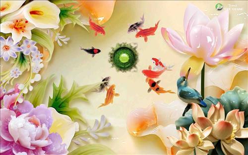 tranh ca chep va hoa sen