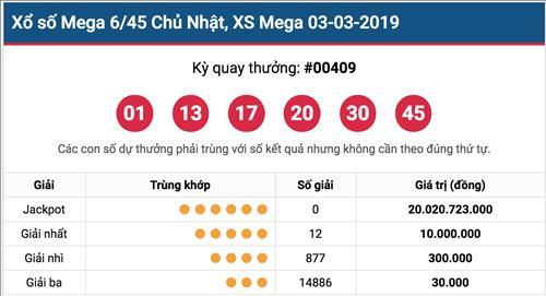 Ket qua Vietlott 3/3 - Ket qua xo so Mega 6/45 hom nay Chu Nhat ngay 3/3/2019